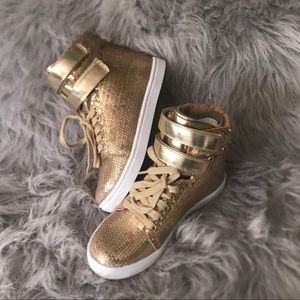 Shoes - Women's Gold Sequins High Top Sneakers